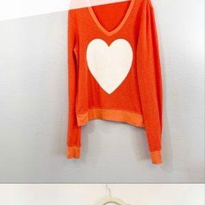 WILDFOX orange v neck beach jumper